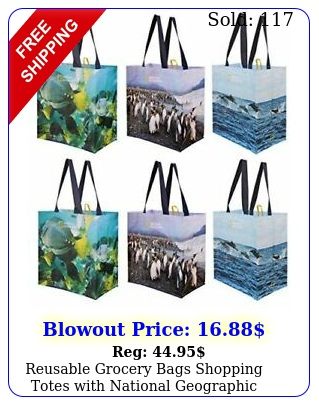 reusable grocery bags shopping totes with national geographic prints pack o
