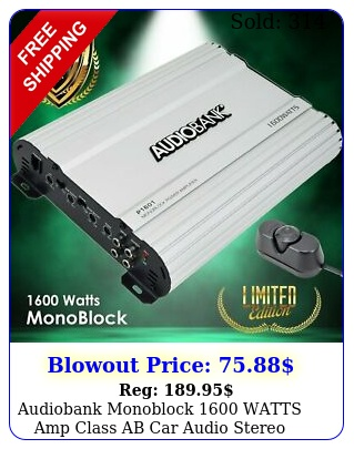 audiobank monoblock watts amp class ab car audio stereo amplifier