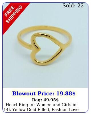 heart ring women girls in k yellow gold filled fashion love ban