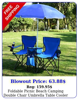 foldable picnic beach camping double chair umbrella table cooler fishing fold u