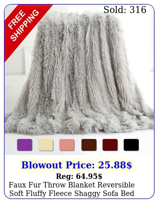 faux fur throw blanket reversible soft fluffy fleece shaggy sofa bed couch deco