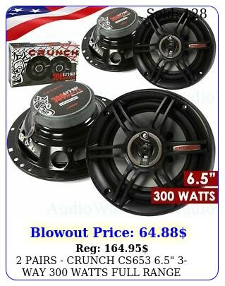 pairs crunch cs way watts full range speakers car audi