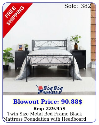 twin size metal bed frame black mattress foundation with headboard footboar