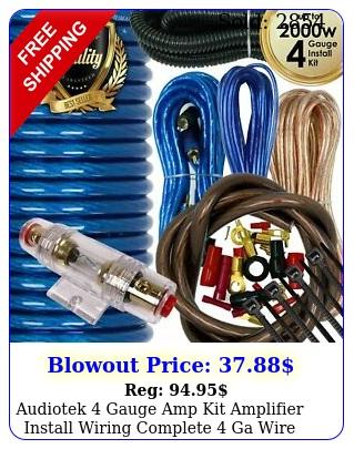 audiotek gauge amp kit amplifier install wiring complete ga wire w blu