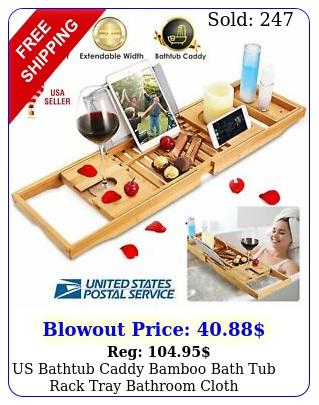 us bathtub caddy bamboo bath tub rack tray bathroom cloth bookpadtablet holde