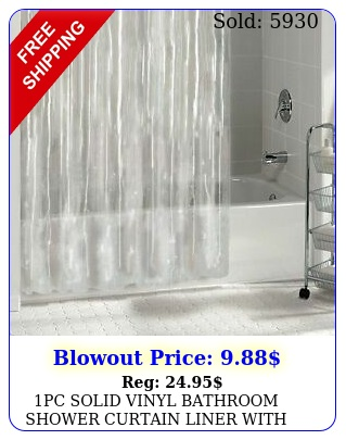 pc solid vinyl bathroom shower curtain liner with metal grommets many color