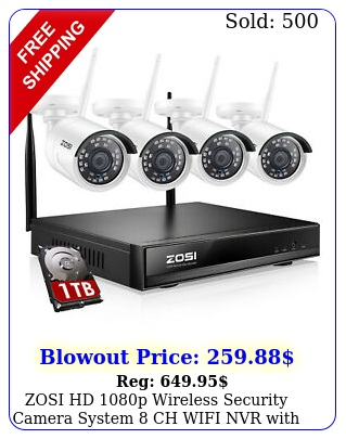 zosi hd p wireless security camera system ch wifi nvr with hard drive t