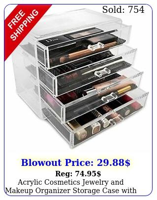 acrylic cosmetics jewelry makeup organizer storage case with large drawer