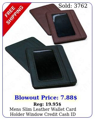 mens slim leather wallet card holder window credit cash id pocket thin minima