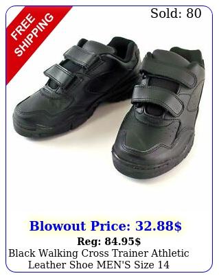black walking cross trainer athletic leather shoe men's siz