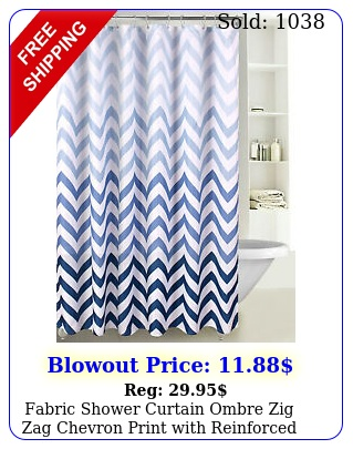 fabric shower curtain ombre zig zag chevron print with reinforced grommet s