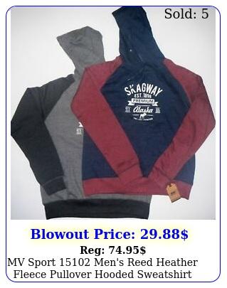 mv sport men's reed heather fleece pullover hooded sweatshirt pouch pocke