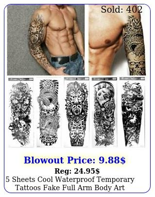 sheets cool waterproof temporary tattoos fake full arm body art stickers skul