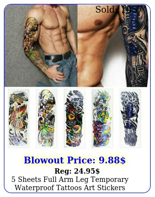 sheets full arm leg temporary waterproof tattoos art stickers removable sleev