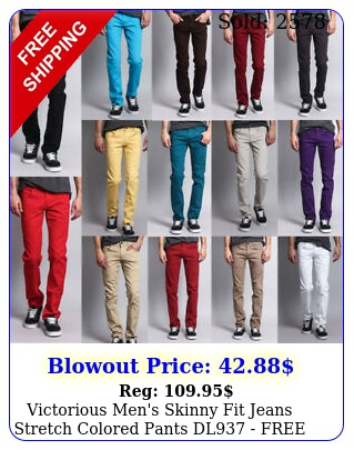 victorious men's skinny fit jeans stretch colored pants  dl free shi