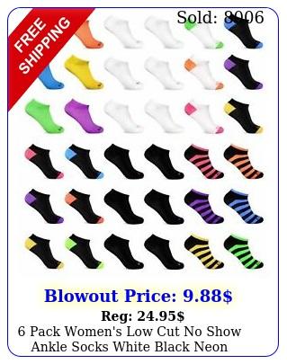 pack women's low cut no show ankle socks white black neon wholesale lo