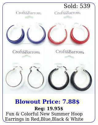 fun colorful summer hoop earrings in redblueblack white nwt