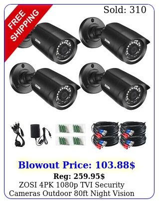 zosi pk p tvi security cameras outdoor ft night vision home cctv ki