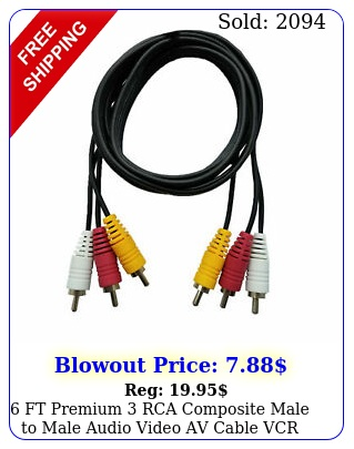 ft premium rca composite male to male audio video av cable vcr dvd free shi