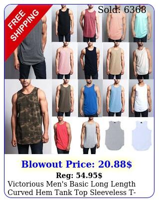 victorious men's basic long length curved hem tank top sleeveless tshirts t