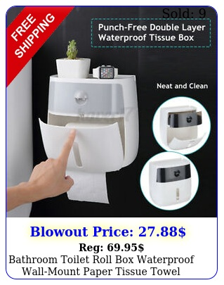 bathroom toilet roll waterproof wallmount paper tissue towel double drawe