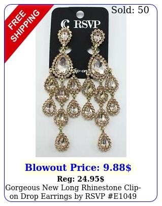 gorgeous long rhinestone clipon drop earrings by rsvp