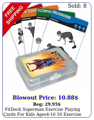 fitdeck superman exercise playing cards kids ages exercise flash crd