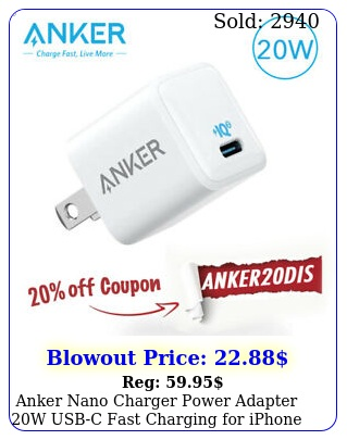 anker nano charger power adapter w usbc fast charging iphone  pro x