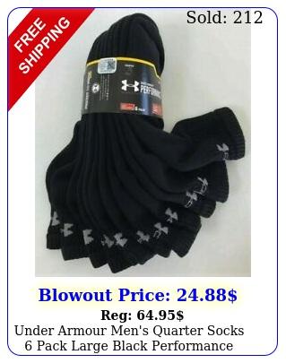 under armour men's quarter socks pack large black performance cotton heatgea