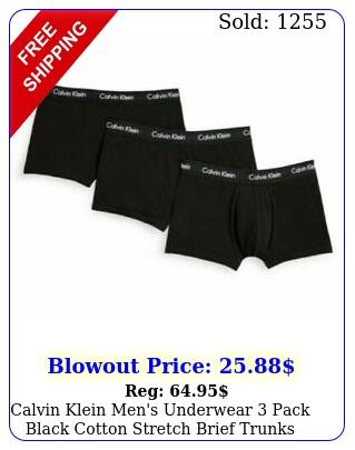 calvin klein men's underwear pack black cotton stretch brief trunks low ris