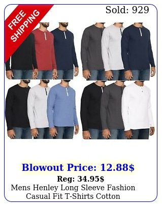 mens henley long sleeve fashion casual fit tshirts cotton heavyweight outerwea