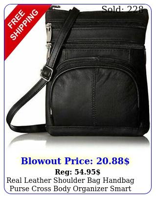 real leather shoulder bag handbag purse cross body organizer smart phone pocket