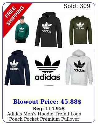 adidas men's hoodie trefoil logo pouch pocket premium pullover hooded sweatshir