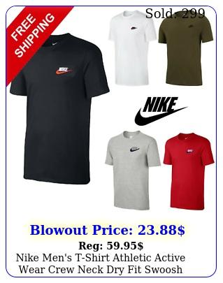 nike men's tshirt athletic active wear crew neck dry fit swoosh futura logo te