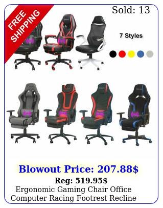 ergonomic gaming chair office computer racing footrest recline vibration messag