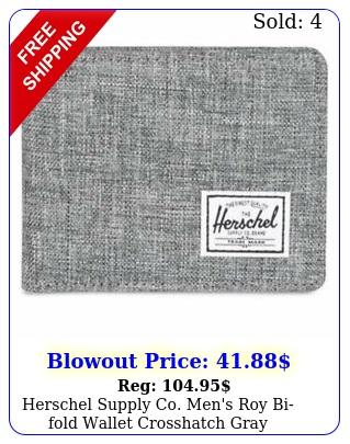 herschel supply co men's roy bifold wallet crosshatch gray accessories cre
