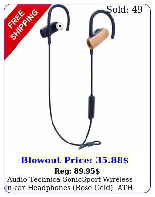 audio technica sonicsport wireless inear headphones rose gold athsportrg