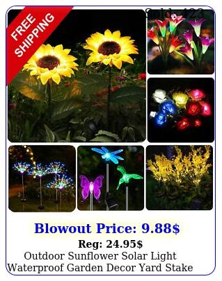 outdoor sunflower solar light waterproof garden decor yard stake decor light