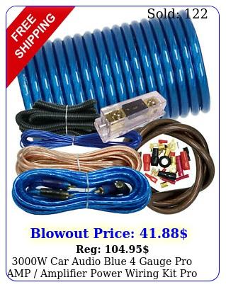 w car audio blue gauge pro amp amplifier power wiring kit pro anl fus