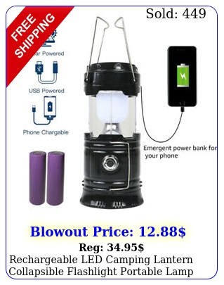 rechargeable led camping lantern collapsible flashlight portable lamp w batter
