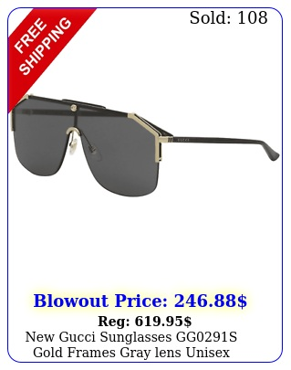 gucci sunglasses ggs gold frames gray lens unisex sunglasse
