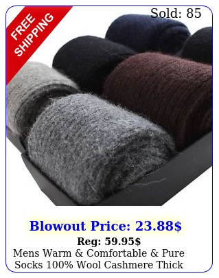 mens warm comfortable pure socks wool cashmere thick sock