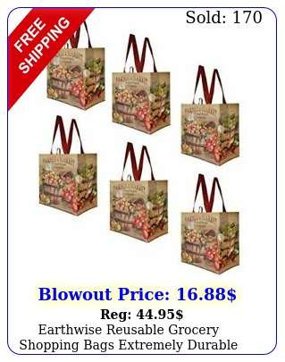 earthwise reusable grocery shopping bags extremely durable multi use  pac