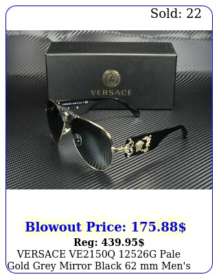 versace veq g pale gold grey mirror black mm men's sunglasse