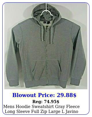 mens hoodie sweatshirt gray fleece long sleeve full zip large l javino ne