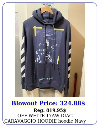 off white aw diag caravaggio hoodie hoodie navy size