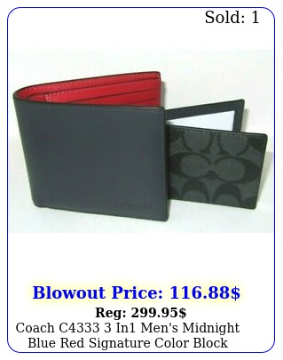 coach c in men's midnight blue red signature color block wallet nw