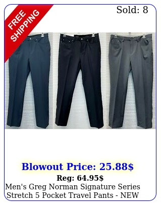 men's greg norman signature series stretch pocket travel pants ne