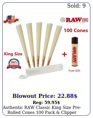 authentic raw classic king size prerolled cones pack clipper lighter fre