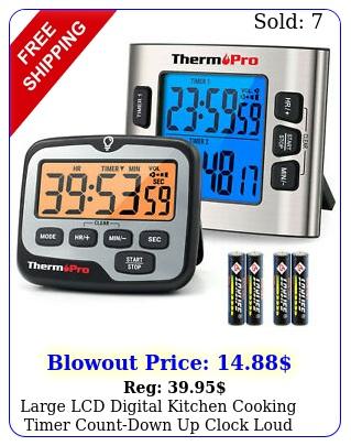large lcd digital kitchen cooking timer countdown up clock loud alarm magneti